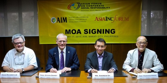 Doing business in the region: Brunei-based Asia Inc Forum, represented by its Regional Programs Manager Mr Andrew Dy (2nd from right), signs the agreement to co-convene the AFCSR 2014 with the Asian Institute of Management (AIM), represented by its President, Dr Steven DeKrey (2nd from left) and witnessed by Dr Ricardo Lim, Dean and Dr Frankie Roman, Executive Director of the AIM – Ramon V del Rosario, Jr Center for Corporate Social Responsibility.