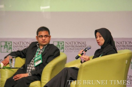 Vinod Kesava, executive director and chief operating officer of environmental consultancy firm The GreenAsia Group (L) during the first session of the 7th National Environment Conference yesterday titled 'Bandar Seri Begawan as a model Eco-Smart City'. Pic: BT/Aaron Wong